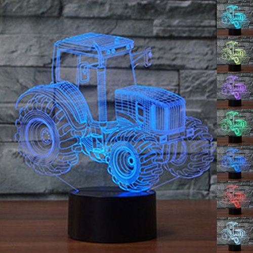 LED Night Light 3D Illusion Bedside Table Lamp 7 Colors Changing Sleeping Lighting with Smart Touch Button Cute Gift Warming Present Creative Decoration Ideal Art and Crafts (Tractor)