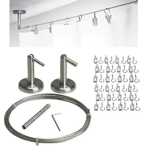 Curtain Wire Rod Set Stainless Steel, Multi-purpose, 16.5' Wire, 2 Mounting Pieces, 24 Clipss by Fasthomegoods by Thasaba