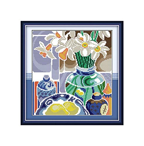 Coloured Pottery Porcelain Fruit Painting Chinese Cross Stitch Home Decor Counted Printed On Canvas DMC 14CT 11CT Embroidery Set,White Porcelain 2,11CT Printed Pattern