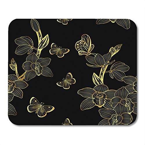 Medium Cymbidium (Emvency Mouse Pads Flower Cymbidium Orchids Pattern Drawing Chinese Line Mask Gold Mouse pad 9.5