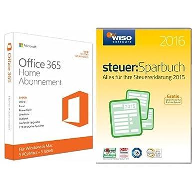 Microsoft Office 365 Home - 5 PCs oder MACs - 1 Jahresabonnement - multilingual + WISO Steuer Sparbuch 2016 (für 2015)