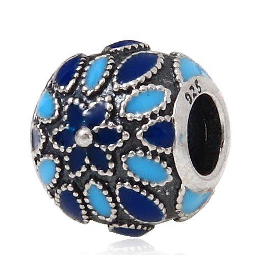 Hoobeads Antique 925 Sterling Silver Blue Enamel Flower Beads Charm Fits European Bracelets