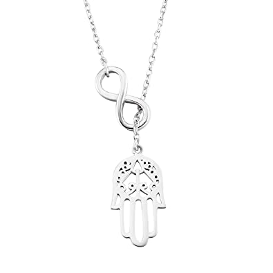 Silver mountain 925 sterling silver infinity good luck hamsa fatima silver mountain 925 sterling silver infinity good luck hamsa fatima hand pendant necklace with 175quot mozeypictures