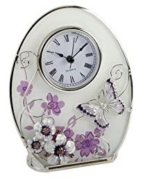 Oval Table Clock with Purple and White Flowers and Butterfly By Haysom Interiors
