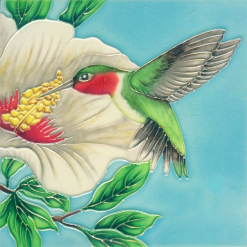 Continental Art Center BD 2261 Hummingbird with White Hibiscus Art Tile, 8 by 8-Inch