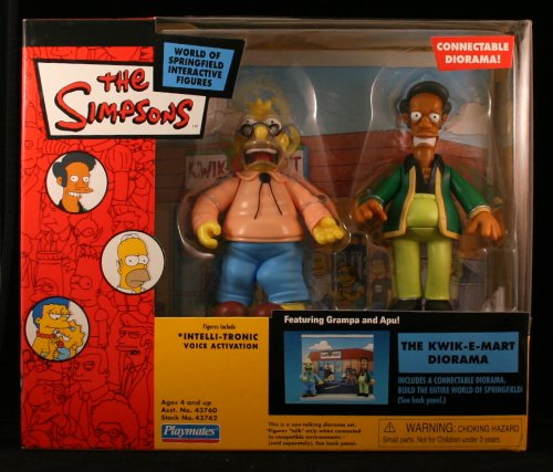 Simpsons Kwik-E-Mart Interactive Diorama w/ Apu and Grampa Simpson