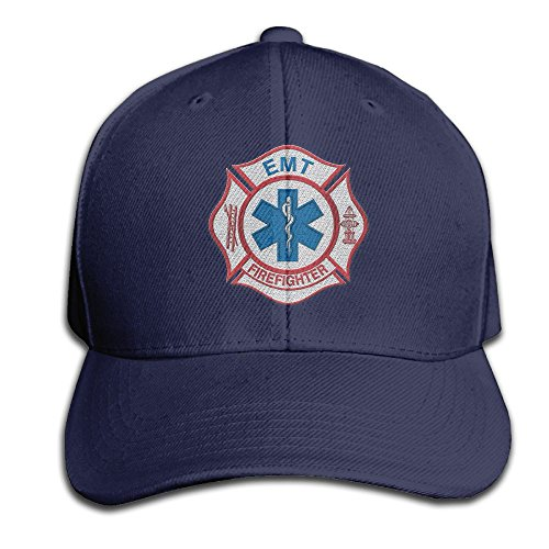 Embroidery Men's Sandwich Cap Adjustable Snapback Cap - EMT Firefighter Maltese Cross (Embroidery Fire Dept)