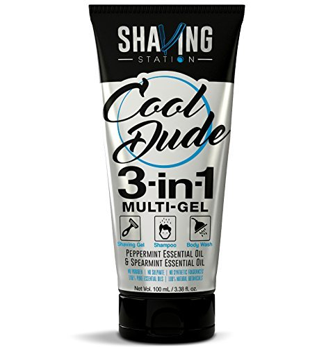 Shaving Station - 3 In 1 Shave, Shampoo & Body Wash Multi Gel - Peppermint, Spearmint & Passion Fruit Essential Oils - Aloe-Vera Extract - Cool Dude 3-In-1 Gel - Paraben & Sulfate Free- 3.38 Fl Oz