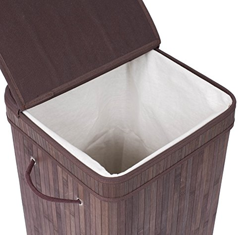 BirdRock Home Square Laundry Hamper with Lid and Cloth Liner | Bamboo | Espresso | Easily Transport Laundry Basket | Collapsible Hamper | String Handles by BirdRock Home (Image #5)