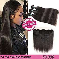 8A Brazilian Virgin Hair Straight Human Hair with Frontal Brazilian Straight Hair Lace Frontal Closure with Bundles Straight Hair Bundles with Lace Frontal (14 14 14+12 frontal, Natural Color)