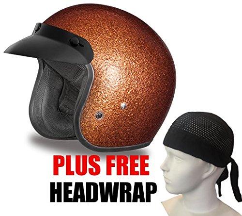 Daytona Cruiser D.O.T. Oepn Face Motorcycle Helmet Root Beer Metal Flake Xsmall + Free Headwrap