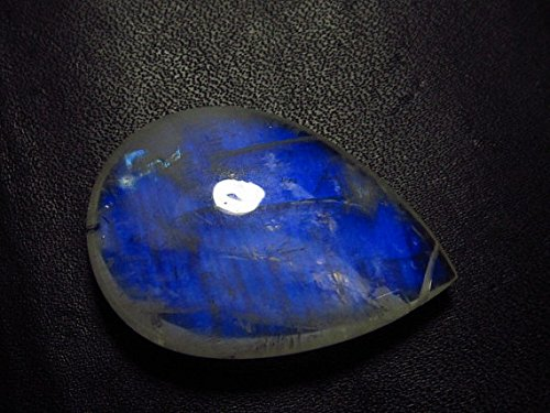 Royal - AAAAA Rainbow Moonstone Smooth Pear Sri Lankan - Full Flashy Blue Fire Huge Size - 26x37 mm