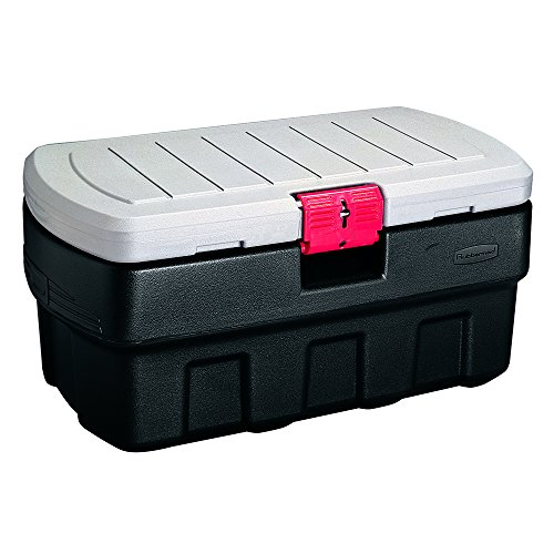 (Rubbermaid ActionPacker Lockable Storage Box, 35 Gallon, Grey and Black)