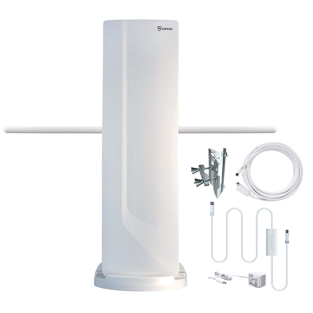HDTV Antenna, ANTOP TV Antenna Outdoor Indoor 70 Miles Range Multi-Directional Reception with Smartpass Amplifier Signal Booster and 4G LTE Filter(39ft Coaxial Cable is included)