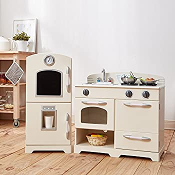 Teamson Kids   Retro Wooden Play Kitchen With Refrigerator, Freezer, Oven  And Dishwasher   White (2 Pieces)