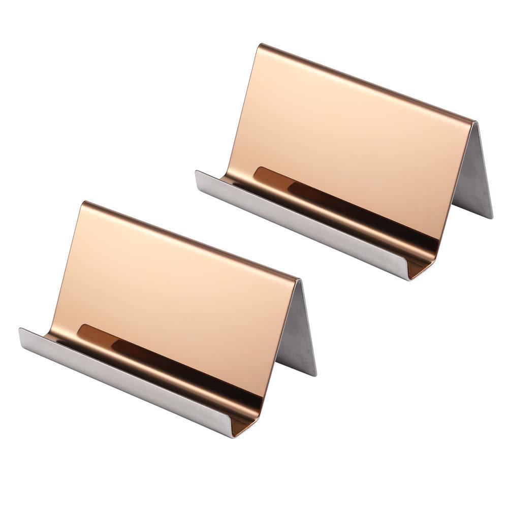 confezione da 2 Rose Gold biglietti da visita Yosco per scrivania porta biglietti da visita in acciaio inox ufficio
