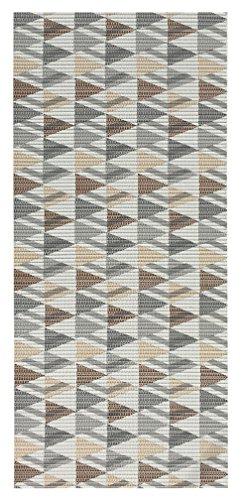 2-feet X 6-feet Foam Rubber Runner Rug | Grey Geometric Design Modern Floor Runner 2X6