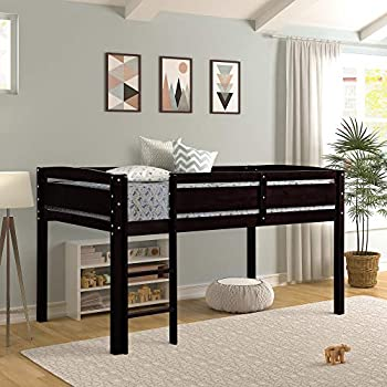 Twin Loft Bed for Kids, Low Loft Bed Frame with Ladder Wood,Twin,Espresso