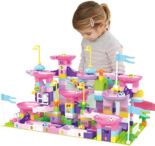 EP EXERCISE N PLAY Marble Run Set for Kids, 217 Pieces STEM Building Toys Marble Race Track with 8 Marble Run Balls Educational Construction Toys for Boys Girls Ages 3
