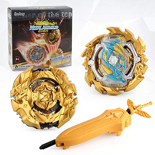 Bey Battle Burst Evolution Attack Gold Gyro Pack for Battling Tops Game with 4D Launcher Grip Starter and Stadium