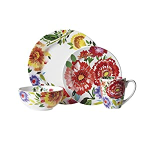 Gourmet Basics by Mikasa Zinnia Garden 16-Piece Dinnerware Set Service For 4  sc 1 st  Amazon.com & Amazon.com | Gourmet Basics by Mikasa Zinnia Garden 16-Piece ...