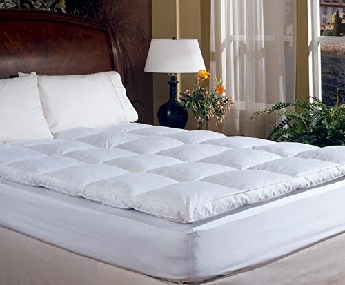 amazoncom overstuffed queen size feather bed pillow top mattress topper 100 cotton cover baffle box design home u0026 kitchen