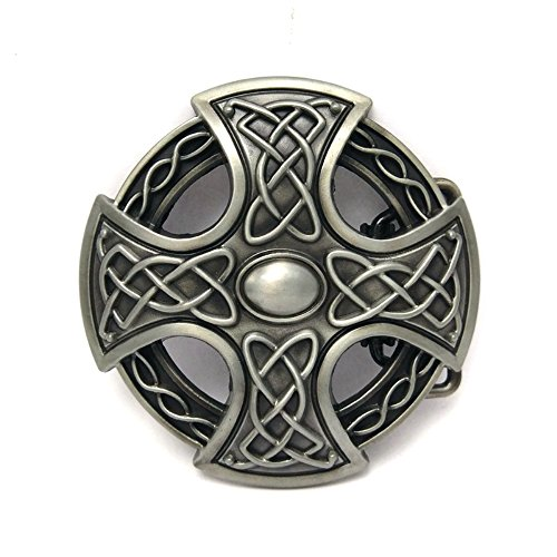 - KeCol Mens Celtic Endless Knot Mystic Circle Braided Cross Belt Buckle Antique Silver I