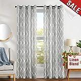 jinchan Grey Moroccan Print Curtains - Flax Linen Blend Textured Grommet Window Treatment Set for Bedroom (2 Panels) (Ring Top|84