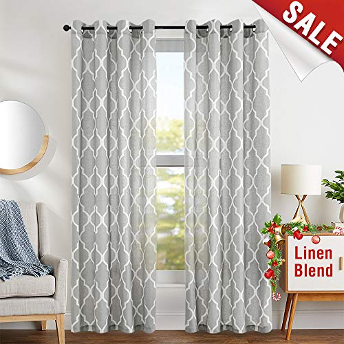 jinchan Grey Moroccan Tile Print Curtains for Bedroom Curtain - Quatrefoil Flax Linen Blend Textured Geometry Lattice Grommet Window Treatment Set for Living Room - 50