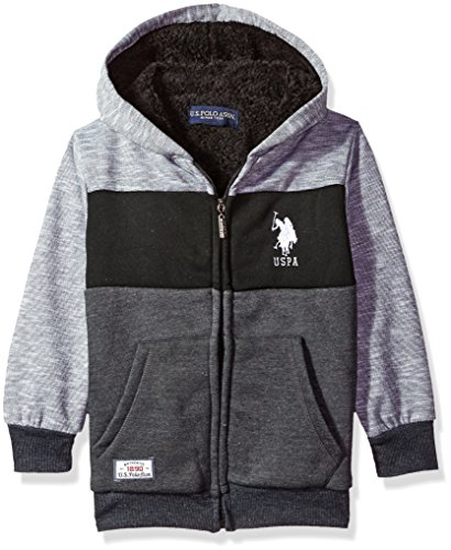 U.S. Polo Assn. Little Boys' Hooded Zip or Snap Fleece Jacket, Space Dye Colorblock Black, 5/6