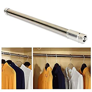 Stainless Steel Tension Rod Retractable Hanging Rod For Clothes Closet