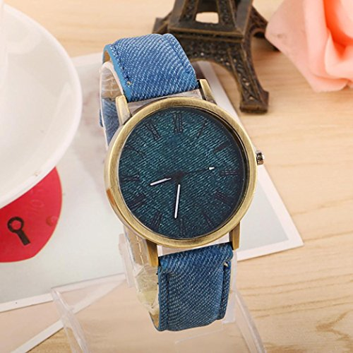 Watch, XUANOU 1PC Lover's Quartz Analog Wrist Delicate Canvas Printed Dial Watch Luxury Sport Watches (Blue) by XUANOU (Image #2)