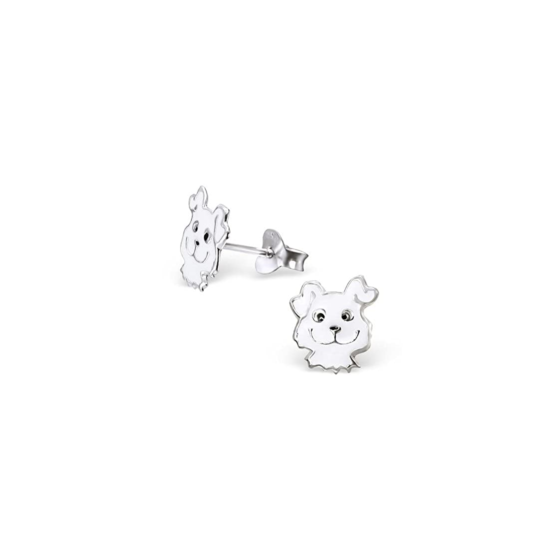 Girls Dog Colorful Ear Studs 925 Sterling Silver