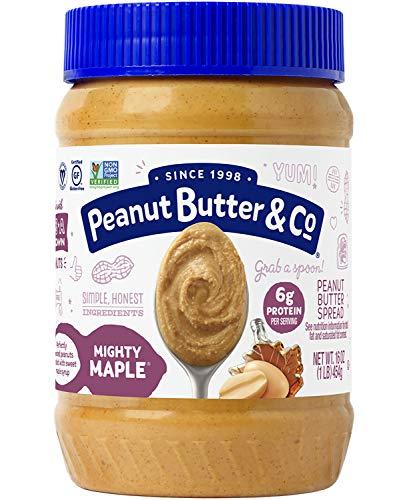 Peanut Butter & Co. Mighty Maple Peanut Butter, Gluten Free, 16 oz Jars (Pack of 6)