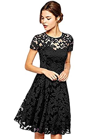 Amoluv Women Round Neck Short Sleeve Pleated Lace Slim Dress Black