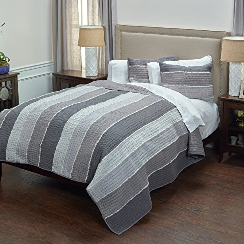 Rizzy Home Olivia Grace Quilt, King, Charcoal Grey ()