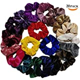 20 Pack Hair Scrunchies Velvet Elastics Hair Ties Scrunchy Bobbles Hair Accessories Bands Ties Ropes Scrunchie for Women or Girls, 20 Pcs Bright Colorful