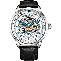 Stuhrling Original Men's 'Symphony' Automatic Stainless Steel and Leather Dress Watch, Color:Black (Model: 133.33152)