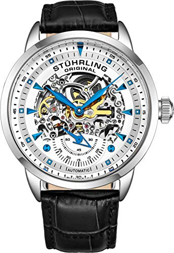 Retrograde Stainless Steel Case - Stuhrling Original Men's 'Symphony' Automatic Stainless Steel and Leather Dress Watch, Color:Black (Model: 133.33152)