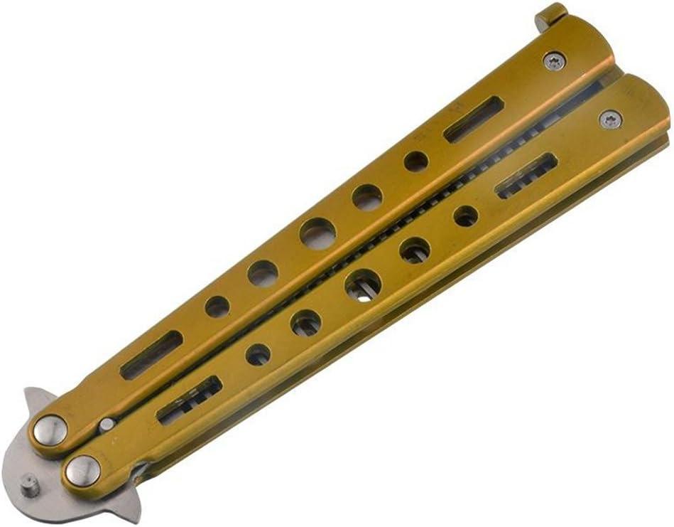 ULTNICE Práctica cuchillo de acero inoxidable peine Blunt principiante Safe Training Tool (Golden)