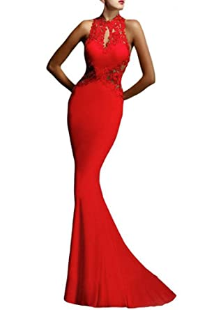 Kearia Women Open Back Formal Flowers Mermaid Sweeping Evening Maxi Gown Dress - Red -