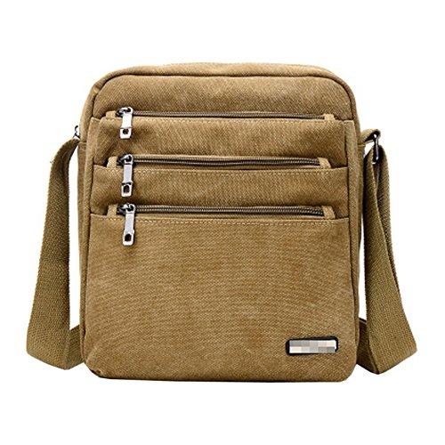Pocket Con Lona Hombro Bag Cremallera De Multi Negocios Messenger Para Satchel Hombres AIYIL Crossbody De Bolso Bolso Casual Khaki Bolso Para Vintage qwTRzg6