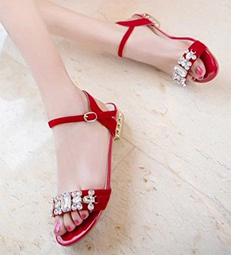 Easemax Womens Flat Open Toe Ankle Buckle Strap Faux Suede Sandals With Rhinestones Red JtS1aO