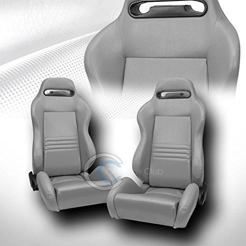 2X Universal TR Gray Stitch PVC Leather RECLINABLE Racing Bucket SEAT+Slider C01