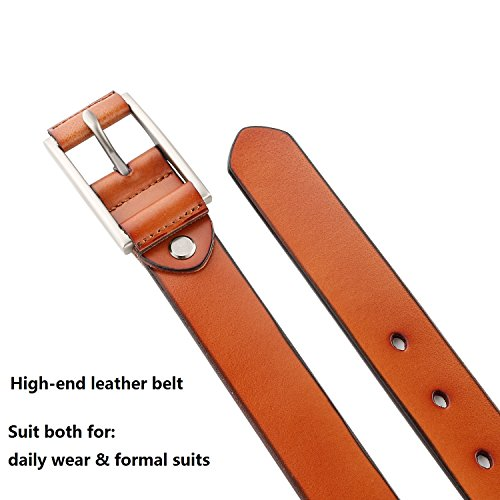 JASGOOD Unique Genuine Leather Belts for Women 1.1'' Width Belt with Stylish Buckle