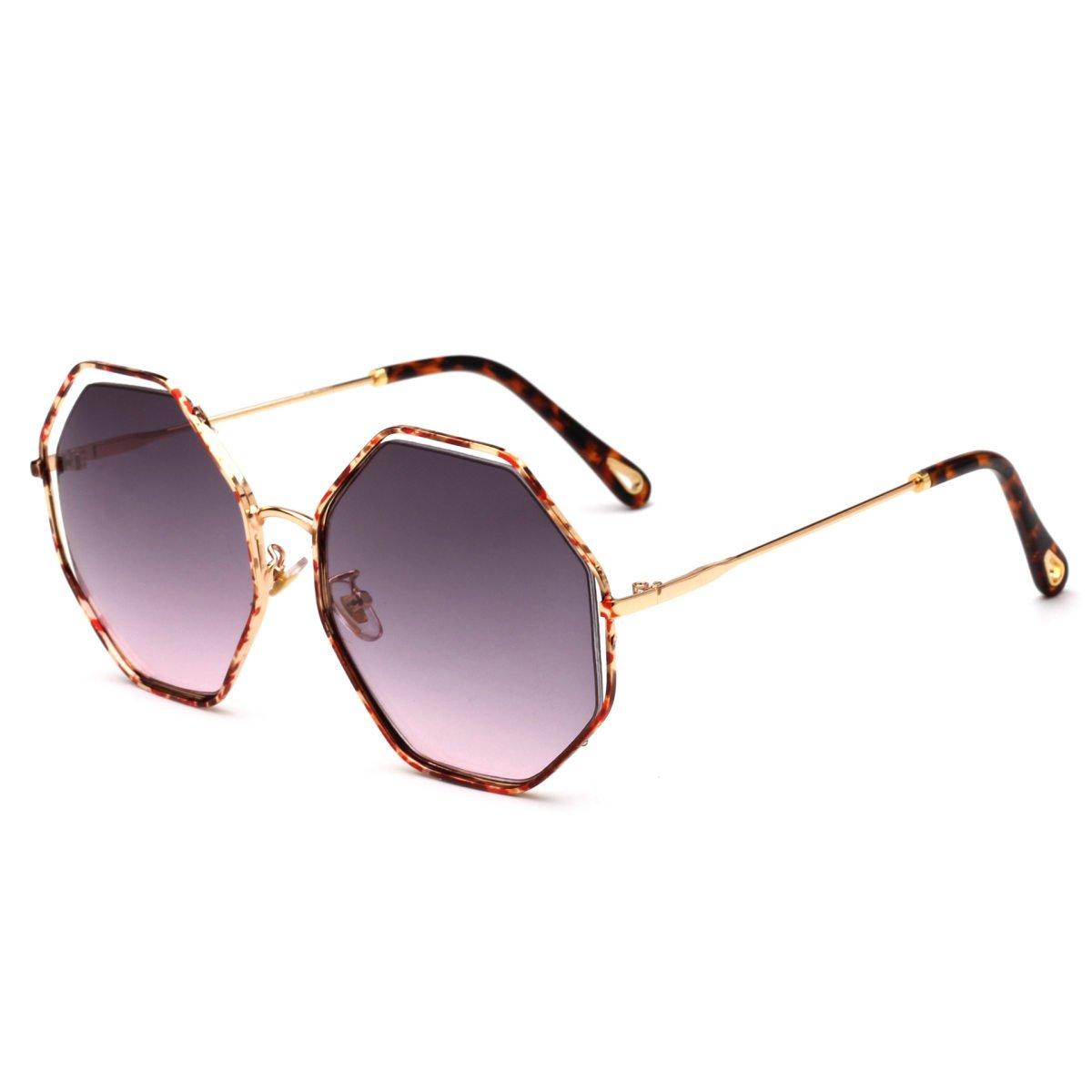 YUEER Gafas De Sol Lady Europa Y Estados Unidos Moda Gafas De Sol Caja Irregular Generosa Película En Color Gafas Metal Hombres,A