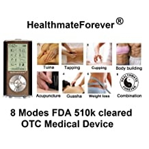 FDA Cleared HealthmateForever HM8G (Black) TENS unit 8 Modes Best Pain Relief Digital Electrothe recharegeable lithium battery/portable unit handheld full body palm plus digital pulse impulse mini micro massager for pain management Lifetime Warranty