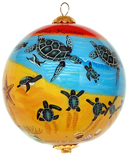 Cute Sea Turtle Baby Hatchlings Hawaiian Ornament Handpainted With Gift (Baby Sea Turtle Box)