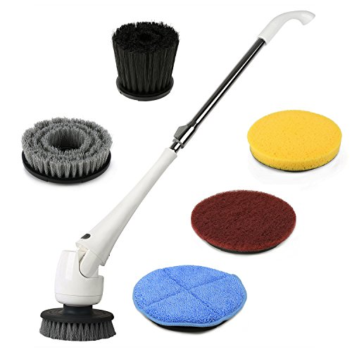 EVERTOP Power Spin Scrubber Cleaning Brush, Electric Scrubber with 5 Brush Heads, Extension Pole and Rechargeable Battery, Turbo Cordless Handheld Bathroom, Floor, Tile, Wall, Shower, Bathtub Cleaner