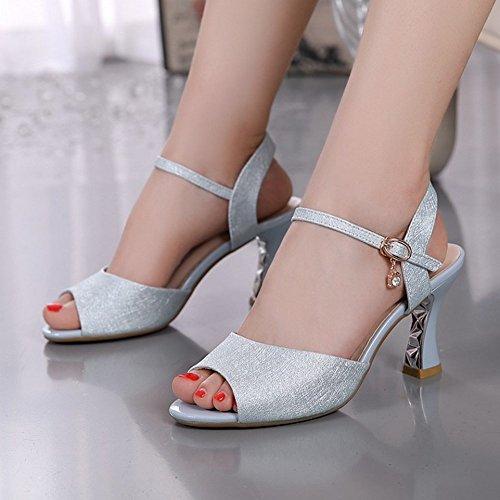 verano zapatos zapatos señoras BAJIAN sandalias sandalias Alto toe heelsWomen bajos LI peep Chanclas Tq4wE